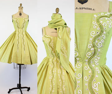 1950s Carlye embroidered dress and wrap xs | vintage applique circle skirt | new in