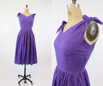 1950s cotton tie shoulder dress small | vintage sun dress | new in