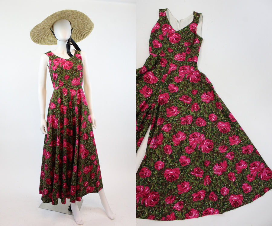 1950s rose print jumpsuit xs | vintage palazzo pants | new in