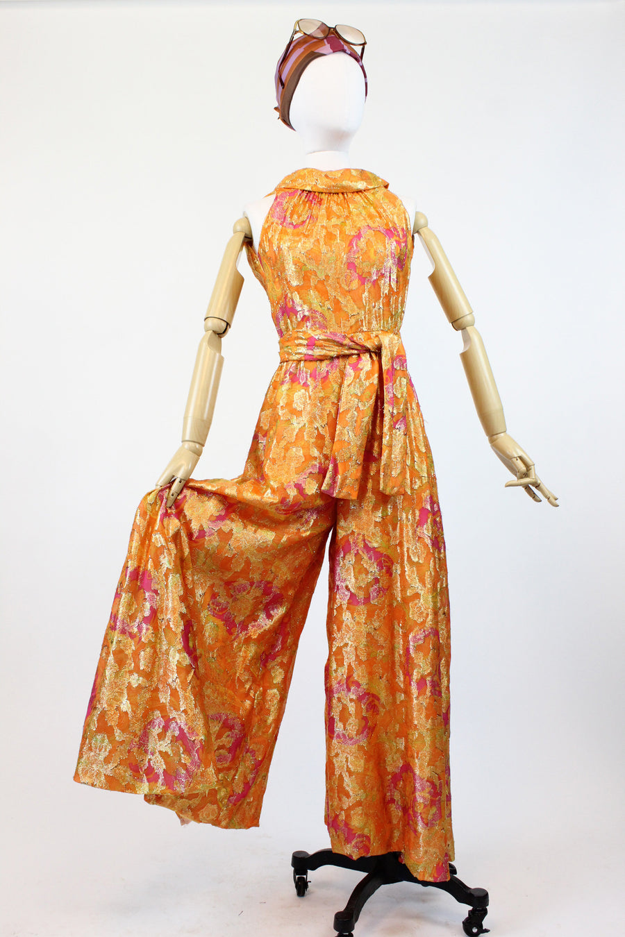 1960s lurex WIDE LEG palazzo jumpsuits xxs | vintage 60s pants romper | new in