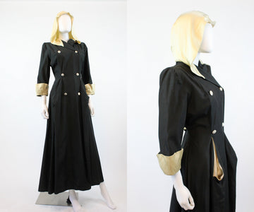 1940s Shrewsbury HOODED dress robe small | new fall