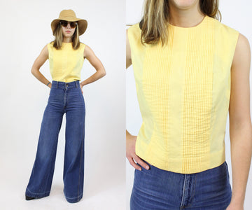 1960s PLEATED cotton blouse top xs small | new spring