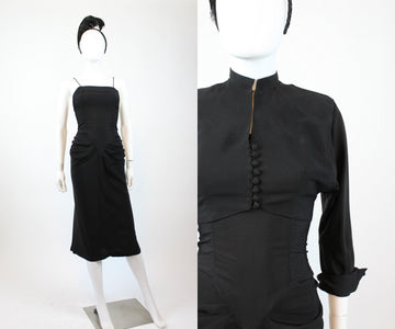 1940s RAYON draped dress and jacket xs | new fall