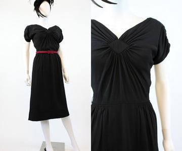 1940s PAUL SACHS draped rayon dress xs | new fall