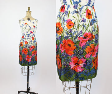 1960s floral dress xs | vintage poppy print dress | new in