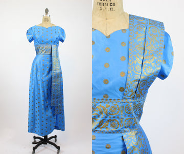 1960s Richard Douglas Hawaiian dress small | vintage gold sari gown | new in
