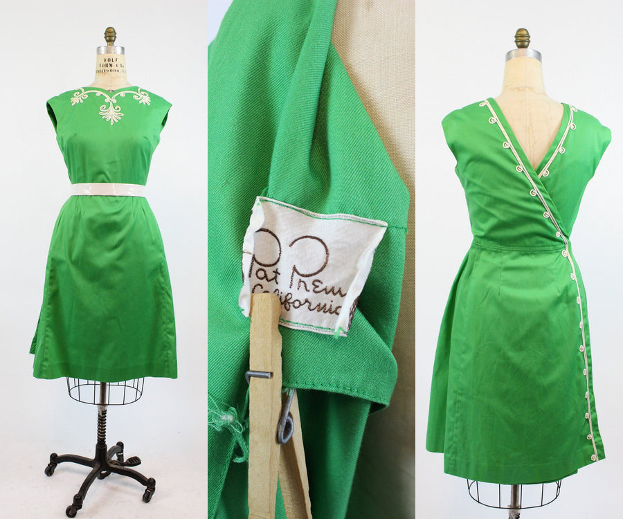 1950s Pat Premo wrap dress medium | vintage soutache embroidery | new in