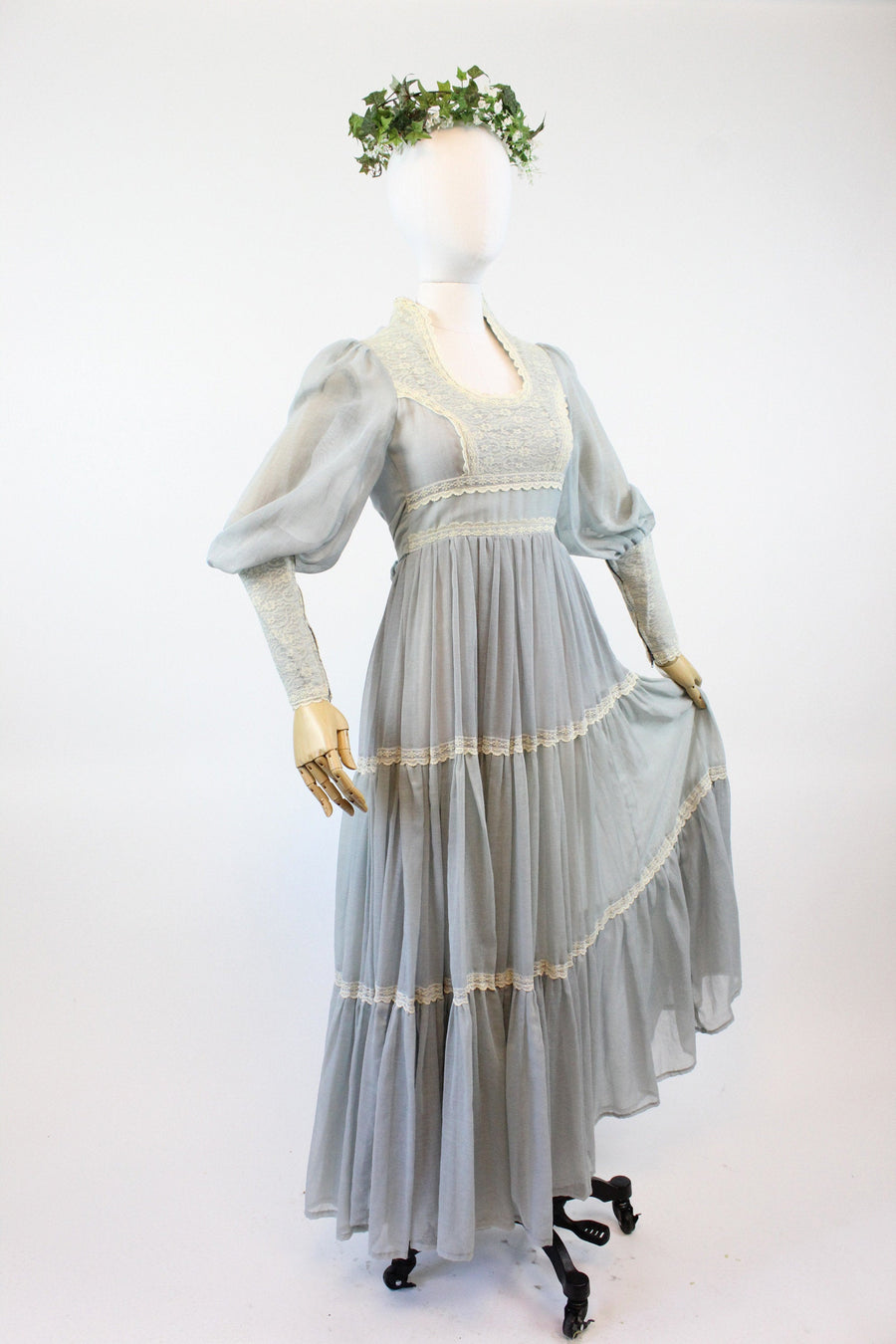1970s Gunne Sax blue maxi dress xxs | vintage wedding dress | new in