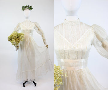 1970s Gunne Sax wedding dress xs | vintage silk organza wedding dress | new in