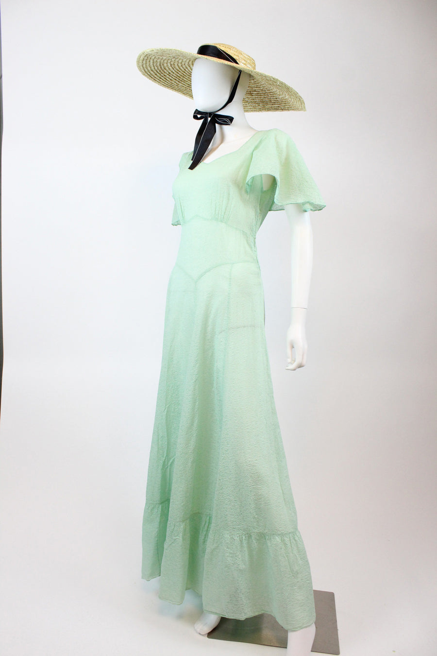 1930s mint green flutter cape sleeves dress medium | vintage cotton gown | new in
