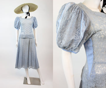 1930s tambour lace dress small medium | vintage puffed sleeves dress | new in