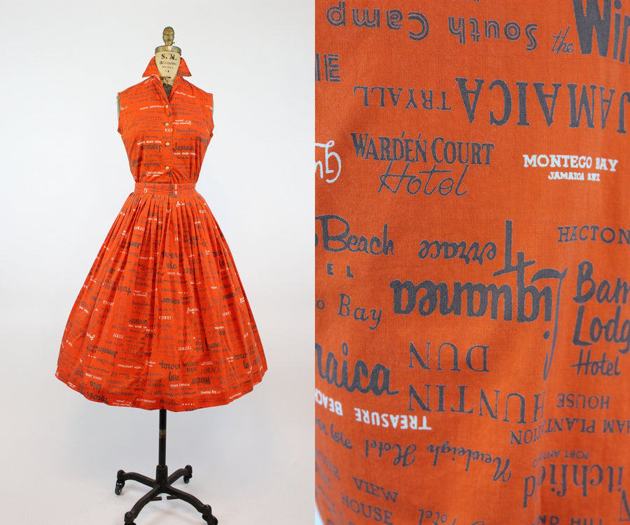 1950s travel print skirt and top xs | jamaica novelty print dress | new in