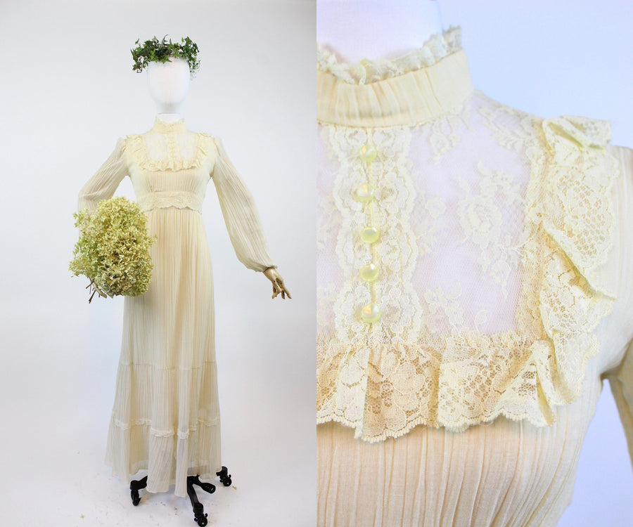 1970s cotton wedding dress small | vintage cottagecore maxi dress | new in