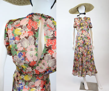 1930s floral silk chiffon dress xs  | 1930s open back gown | new in