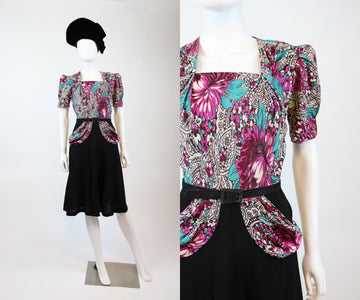 1930s rayon jersey floral dress medium | vintage side button dress | new in