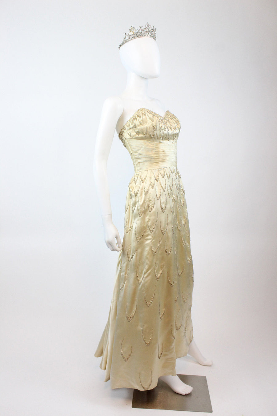 1950s demi couture I Magnin silk beaded dress xs | vintage wedding gown | new in JMC