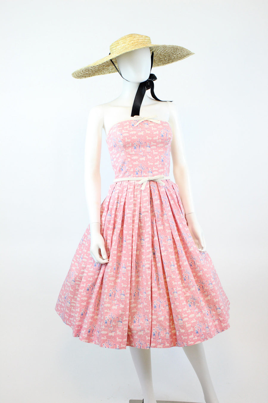 1950s Lanz mary had a little lamb novelty dress xxs | cotton strapless dress | new in