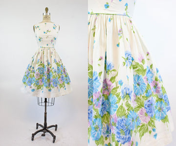 1950s cotton pique floral dress xs | vintage sun dress | new in