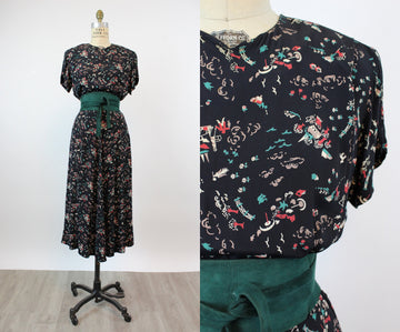1940s ARTIST and BEACH print rayon dress medium novelty | new fall