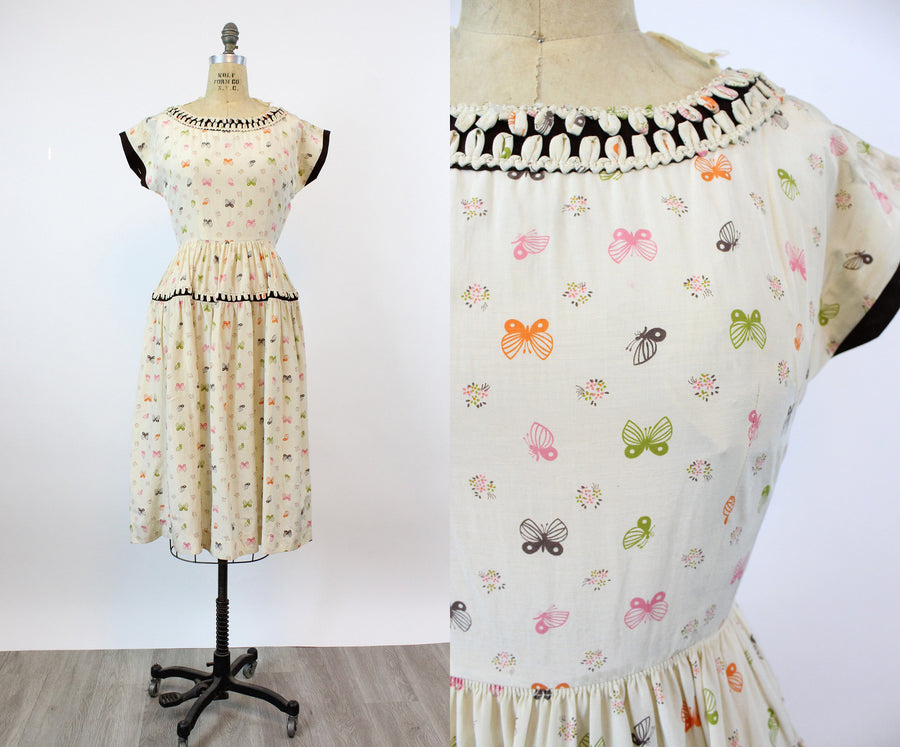 1950s MOTH butterfly print Vicky Vaughn dress xs | new fall