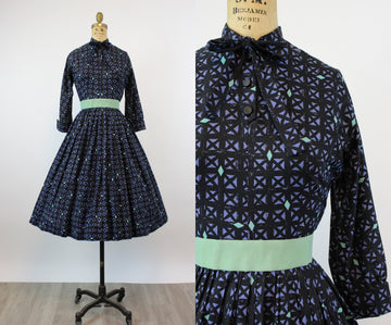 1950s Jonathan Logan cotton GRID dress xs | new fall