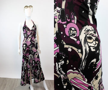 1970s JANIS JOPLIN hippie print halter dress xxs | new fall