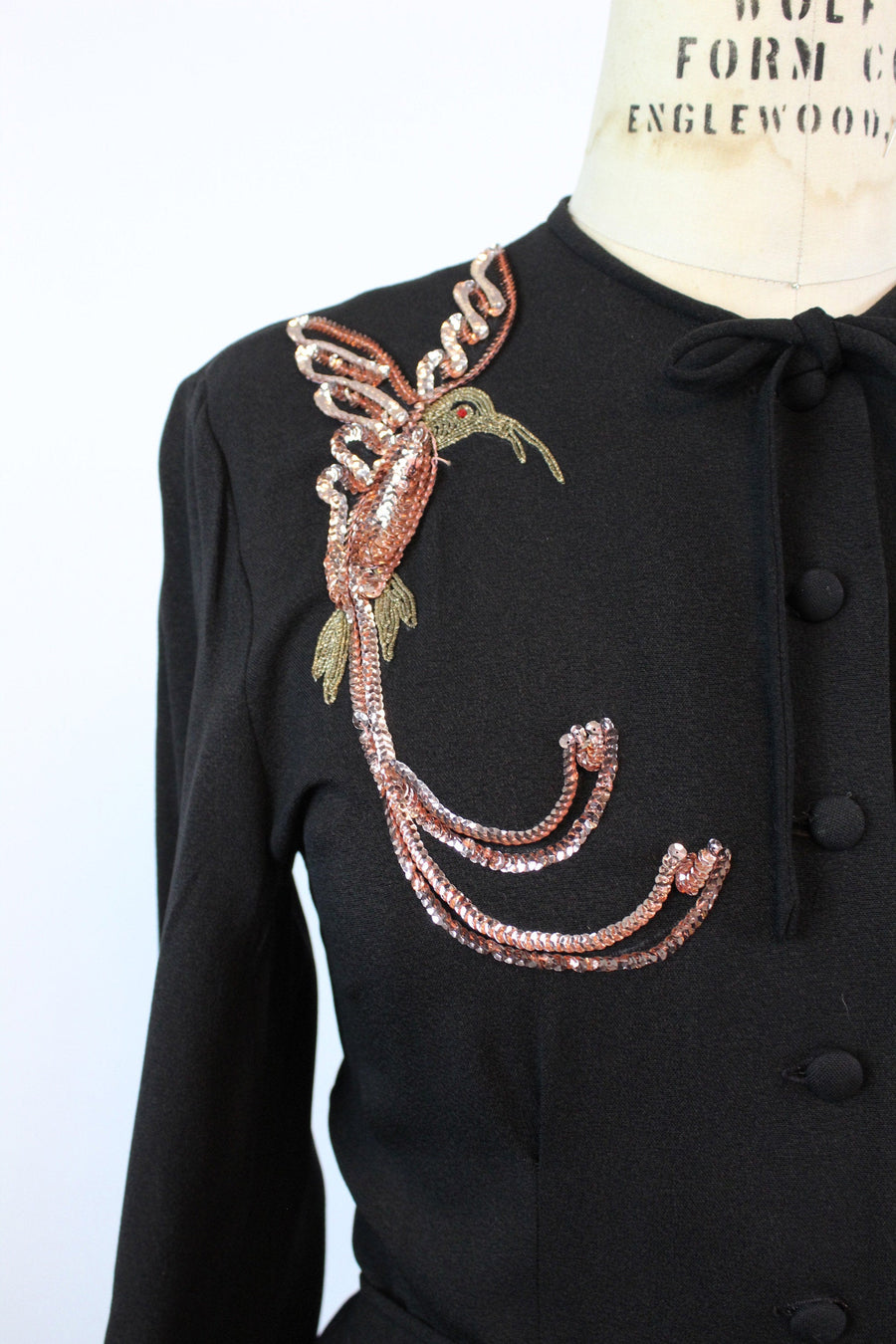 1940s SEQUIN BIRD dressing gown dress large | new fall