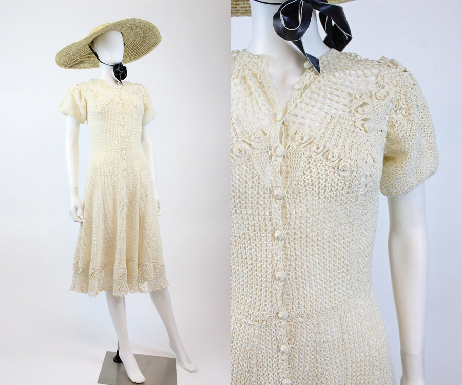 1970s crochet fit and flare dress small medium | 70s does 1930s ivory knit dress | new in