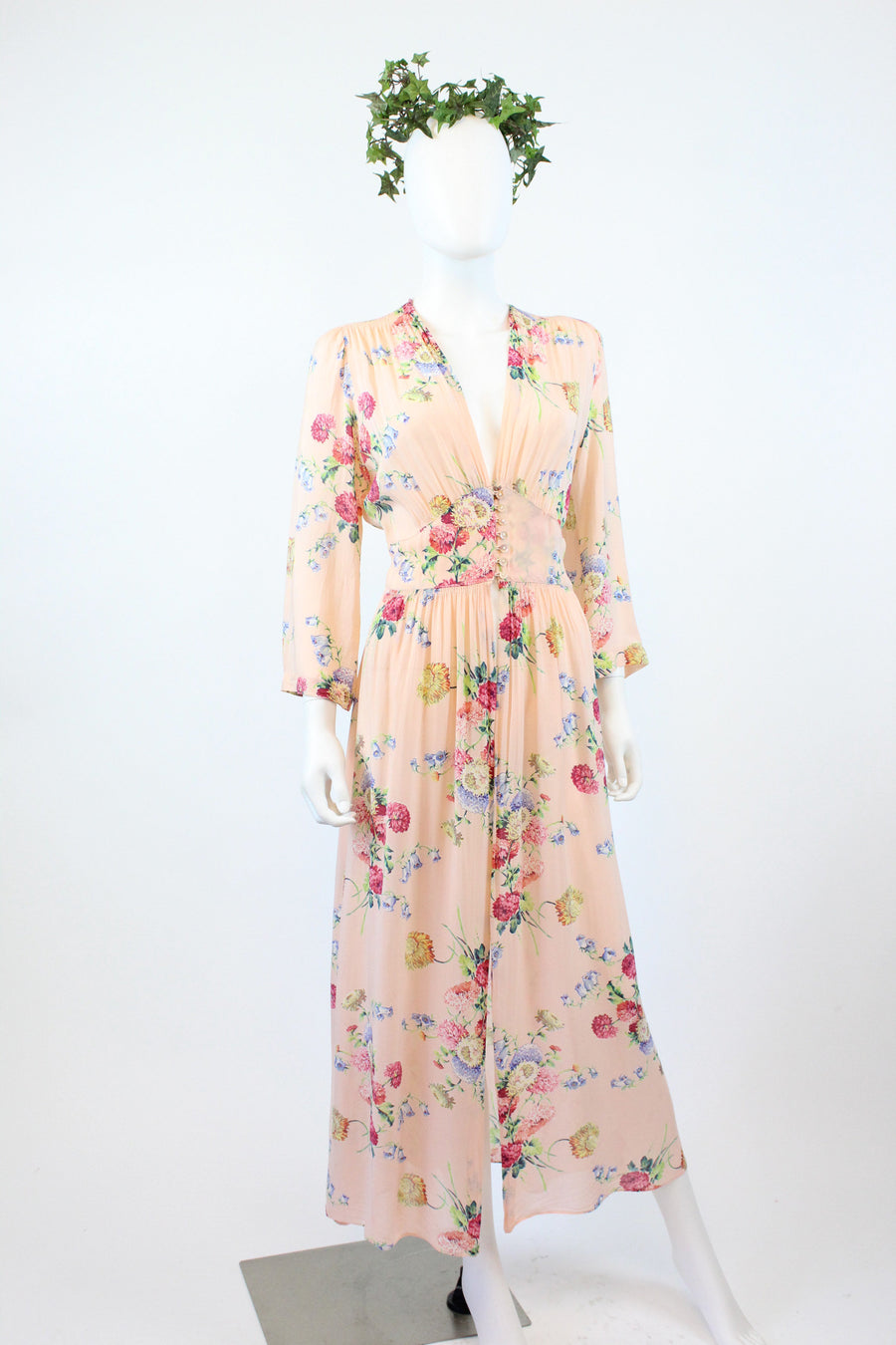 1940s Radcliffe rayon dress gown small | vintage floral robe | new in