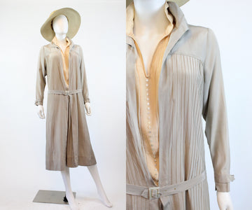 1920s silk PINTUCKED dove gray dress small medium | new fall