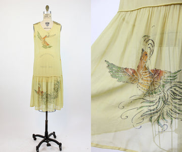 1920s PHEASANT handpainted SEQUIN silk dress xs small | new fall