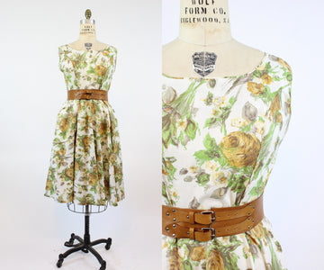1950s YELLOW ROSE cotton dress large volup | new spring
