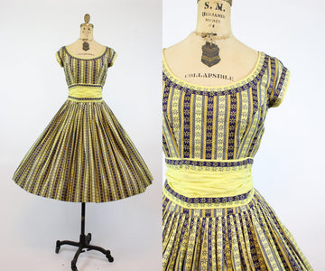 1950s Pat Premo cotton FULL SKIRT dress small | new spring