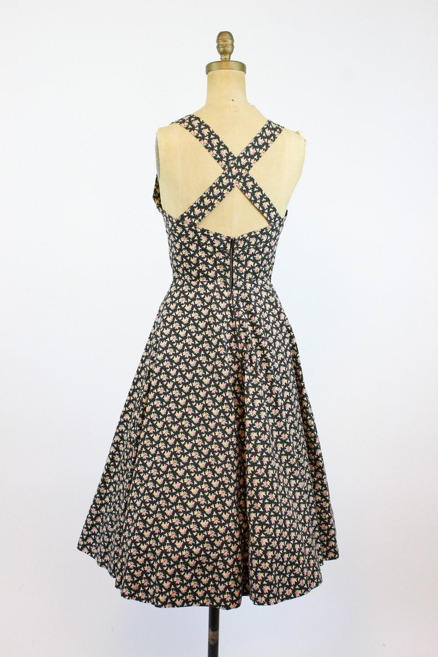 1950s rose print strappy back sun dress xs | vintage dress and jacket | new in