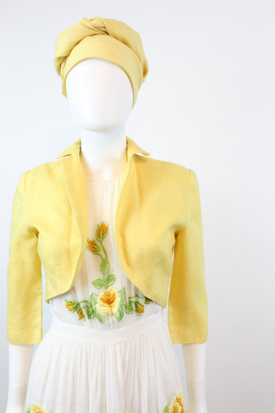 1940s EMBROIDERED dress three piece xs  | vintage dress and jacket | new fall