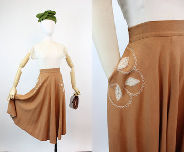 1940s SPICE embroidered linen pocket skirt xxs | new fall