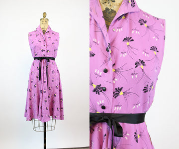 1940s lavender FLORAL dress xs small | new fall
