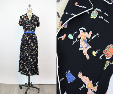 1990s NOVELTY pin up vacation print dress small | new fall