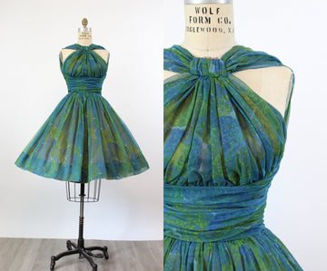 1950s Jonny Herbert HALTER chiffon dress xs | new spring