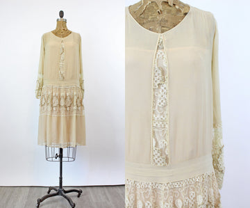 1920s silk macrame lace WOOD BEAD dress xs | new fall