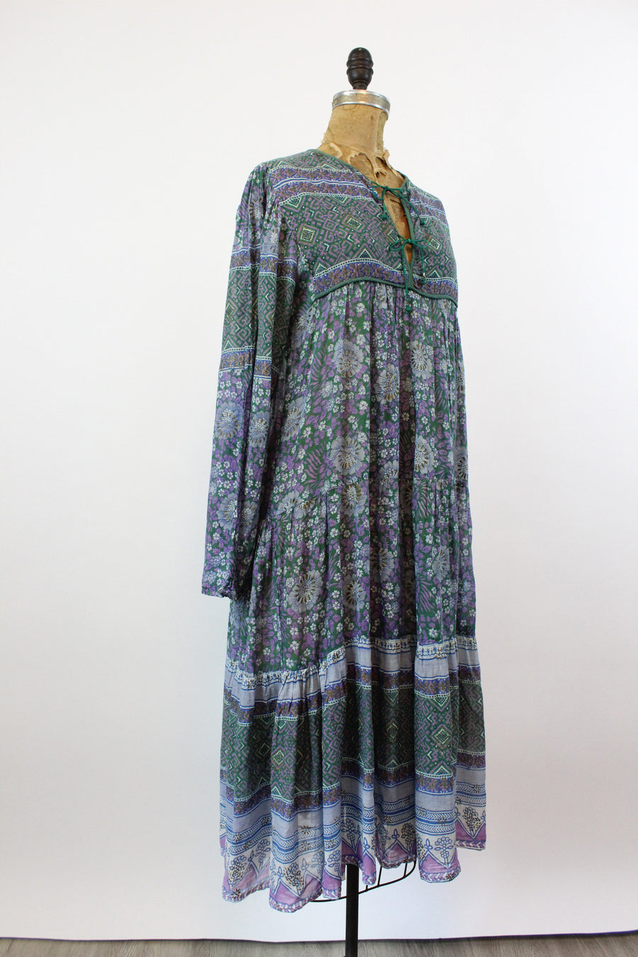 1970s ADINI Indian cotton caftan dress balloon sleeves | new fall