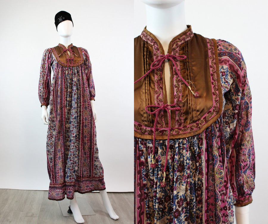 1970s Indian cotton gold caftan dress small | new fall JMC