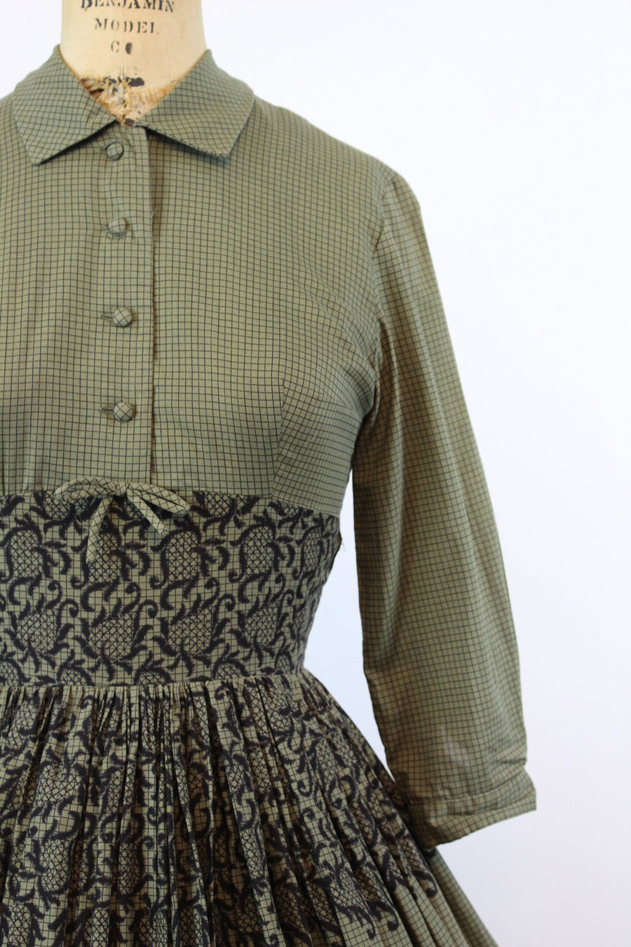 1950s TROMP L'OEIL cotton dress xs | vintage grid print | new fall