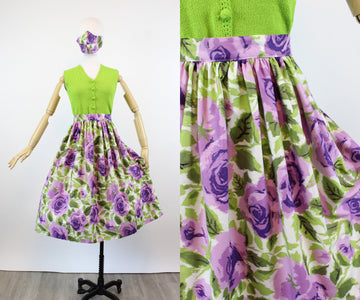 1950s purple ROSE fabric handmade skirt small | new fall
