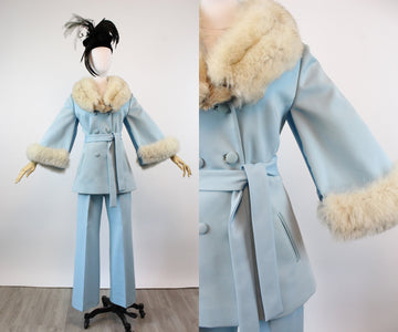 1970s LILLI ANN pants suit fox fur CAPE medium large | new fall