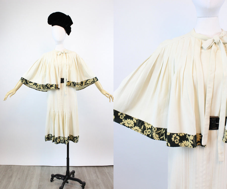 1930s FOGA rayon dress and CAPE large VOLUP | new fall