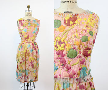 1950s 1960s DEMI COUTURE silk beaded dress and quilted vest xs | new fall LD