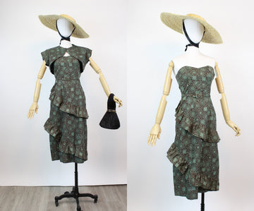 1950s strapless cotton MIAMI dress and BOLERO xs | new spring