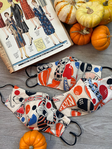 1930s fabric mask COLLEGE print novelty reversible cotton