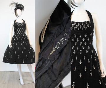 1950s RARE Ceil Chapman rhinestone halter velvet dress xs | new fall